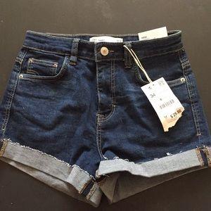 Zara high waist cuffed jean shorts